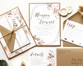Geometric Fall Harvest Wedding Invitation | Bohemian Autumn Copper Watercolor Invite | Custom Invitation Suite wedding invitation