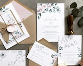 Dreamy Floral Wedding Invitation | Bohemian Blush, Dusty rose, lavender Watercolor Invite | Custom Invitation Suite wedding invitation