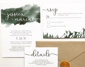 Green Watercolour Wedding Invitation | Mountain Wedding Invite | Custom Invitation Suite wedding invitation