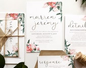 Shades of Pink Floral Wedding Invitation | Blush Wedding Invite | Custom Watercolour Invitation Suite | Greenery Bouquet wedding invitation