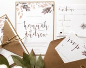 Fall Floral Wedding Invitation | Autumn Leaves Wedding Invite | Custom Invitation Suite wedding invitation