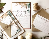 Fall Foliage Wedding Invitation | Bohemian Autumn Copper Watercolor Invite | Custom Invitation Suite wedding invitation