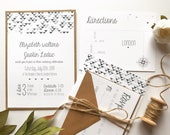 Fun Geometric Confetti Wedding Invitation | Modern + Neutral Wedding Invite | Custom Invitation Suite wedding invitation