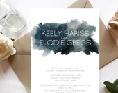 Blue Watercolour Wedding Invitation | Navy Watercolor Wedding Invite | Custom Invitation Suite wedding invitation