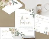 Gold + Blush + Sage Green Floral Wedding Invitation Set | Elegant Watercolor Wedding Invite | Custom Invitation Suite wedding invitation