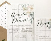 Country Rustic Wedding Invitation | Barnboard Floral Invitation | Custom Invitation Suite wedding invitation