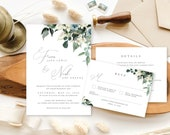 Spring Shades of Green + Blue Floral | Leafy Green Boho Wedding Invitation | Bohemian Greenery Wedding Invite | Custom Invitation Suite