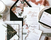 Fall Floral Romance Wedding Invitation | Bohemian Autumn Copper Watercolor Invite | Custom Invitation Suite wedding invitation