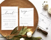 Simple Modern Wedding Invitation | Black and White Stationery | Custom Invitation Suite wedding invitation
