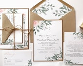 Elegant Blush Pink Floral Wedding Invitation | Leafy Green Watercolor Invite | Custom Invitation Suite wedding invitation