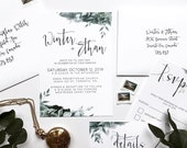 Shades of Green & Navy Blue Foliage Wedding Invitation | Bohemian Leafy Dark Blue Watercolor Wash Invite | Custom Invitation Suite