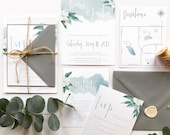 Beachy Bohemian Vibes | Beach Wedding Boho Floral Wedding Invitation | Soft Blue Watercolor Invite | Destination Wedding Invitation Suite