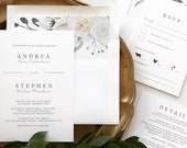 Elegant Ivory Floral + Greenery Wedding Invitations | Romantic Classic Floral Wedding invitation suite | floral envelope liner
