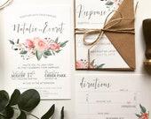 Shades of Pink Floral Wedding Invitation | Blush Wedding Invite | Custom Invitation Suite wedding invitation