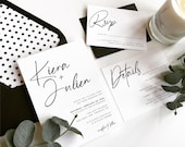 Modern Black and White Script Wedding Invitation | Polka Dot Envelope Liner | Mod Wedding Invitation | Simple Modern Invitation Suite