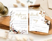 Bohemian Fall Foliage Wedding Invitation | Autumn Copper + Navy Watercolor Invite | Custom Invitation Suite wedding invitation