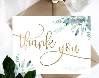 Foliage Watercolor Bohemian Modern Thank You Cards Customized Deep Plum Floral Watercolour Thank You Card Personalized Message