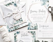 Geometric Shades of Green + Blue Floral Wedding Invitation | Bohemian Gold  Hexagon Invite | Custom Invitation Suite