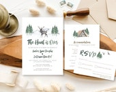 The Hunt is Over | Woodsy Themed Fall Wedding Invitation | Rustic Watercolor Invite | Outdoorsy Custom Invitation Suite wedding invitation