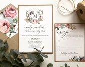 Marsala Floral Boho Wedding Invitation | Burgundy Bohemian Antler Wedding Invite | Custom Invitation Suite wedding invitation