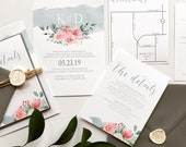Blue Blush Floral Vibes | Beach Wedding Boho Floral Wedding Invitation | Blush Watercolor Invite | Destination Wedding Invitation Suite
