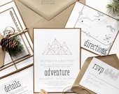 Geometric Mountain Wedding Invitation | Adventure Wedding Invite | Custom Invitation Suite wedding invitation