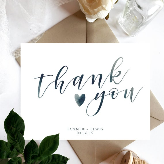 Customized Navy Blue Bohemian Blue Wedding Thank You Cards Personalized Thank You Card Gold Leafy Green Watercolour Thank You Card