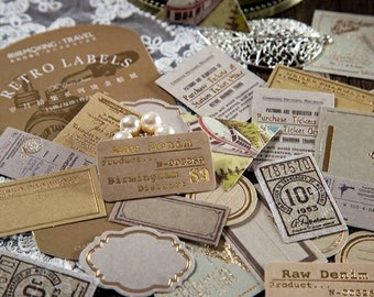 Labels and Stickers with Gold Foil Elements, Vintage-styled, Multiple Colors