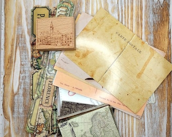 Small Junk Journal Set Travel Themed for Journaling, Scrapbooking and Crafts