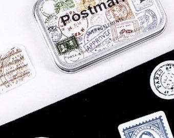 Vintage Looking Postal Stamp Sticker Tin 60 Pieces