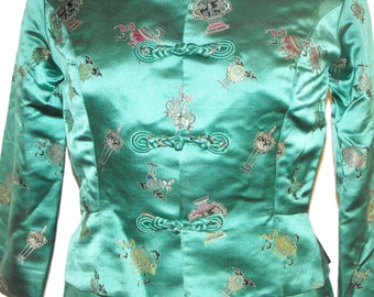 1960's Teal Silk Halter Wiggle Dress with Matching Jacket