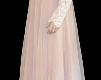 1960's Soutache  and Lace and Chiffon Evening Gown