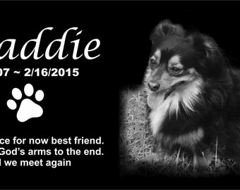 Personalized Pet Dog Human Stone Memorial Engraved Marker Granite 6 x 12 cat horse Bird Border Collie Stand Display