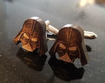 Laser Engraved wood Darth Vader Cufflinks Cuff links wedding gift Christmas FREE SHIPPING