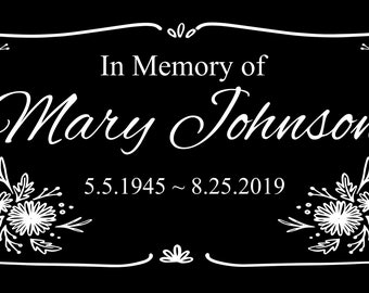 """Personalized Pet Dog Human Stone Memorial Engraved Marker Granite 6"""" x 12"""" cat horse Bird rabbit grave stone Stand"""