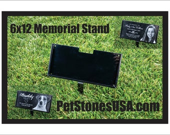 6x12 Powder Coated Steel Display Stand for Memorial Pet Human grave marker  STAND ONLY
