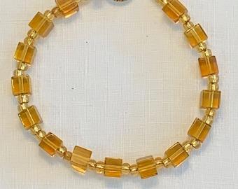 Grade Golden Citrine Faceted Round Cube bead Bracelet Elegant BEST GRADE AAAA