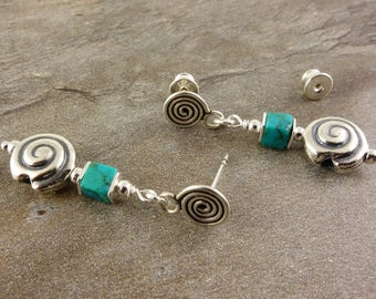 Snail Earrings with turquoise and 925 silver, earrings silver, earrings with turquoise, cubes-earrings, turquoise, 925 sterling silver