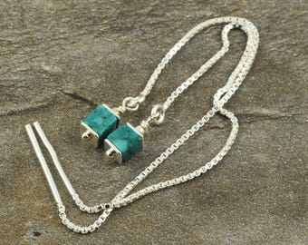 Necklace-Earrings with cubes of turquoise, sterling silver, pull-through earrings, threader, Fädelohrringe, earrings silver, turquoise, cubes, gift,