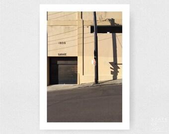 garage - shadows - urban photograph - buildings - streets - wall art - portrait - square prints | LARGE FORMAT PRINT