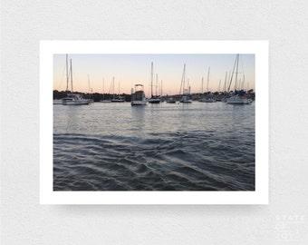 ocean harbour photograph - coastal surf decor - boats - sailing - harbour - wall art - landscape - square prints | LARGE FORMAT PRINT