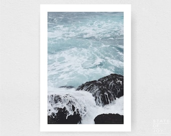 ocean beach photograph - coastal decor - waves - surf - wall art - portrait - square prints | LARGE FORMAT PRINT
