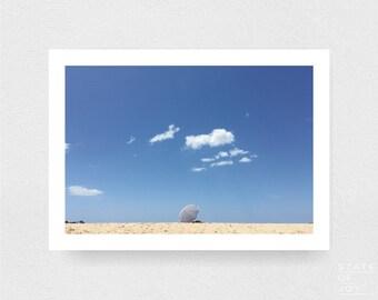 ocean beach photograph - coastal surf decor - umbrella - clouds - wall art - landscape - square prints | LARGE FORMAT PRINT