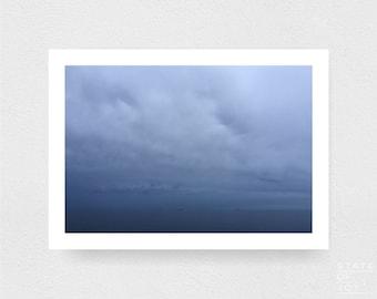 ocean beach photograph - coastal decor - sea - ships - wall art - landscape - square prints | LARGE FORMAT PRINT