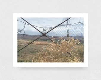 travel - fence - farm photograph - country decor - wall art - landscape - square prints | LARGE FORMAT PRINT