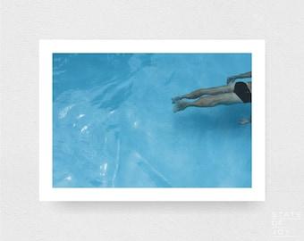 pool photograph - coastal decor - swimmers - bathers - wall art - landscape - square prints | LARGE FORMAT PRINT
