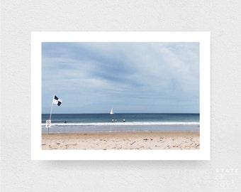 ocean beach photograph - coastal surf decor - beach - boat - sailing - wall art - landscape - square prints | LARGE FORMAT PRINT