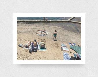 ocean pool photograph - coastal surf decor - swimmers - bathers - wall art - landscape - square prints | LARGE FORMAT PRINT