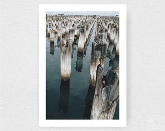 pier - jetty - wharf photograph - coastal sea decor - ocean - wall art - portrait - square prints | LARGE FORMAT PRINT