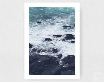 ocean beach photograph - coastal surf decor - rock ledge - wall art - portrait - square prints | LARGE FORMAT PRINT